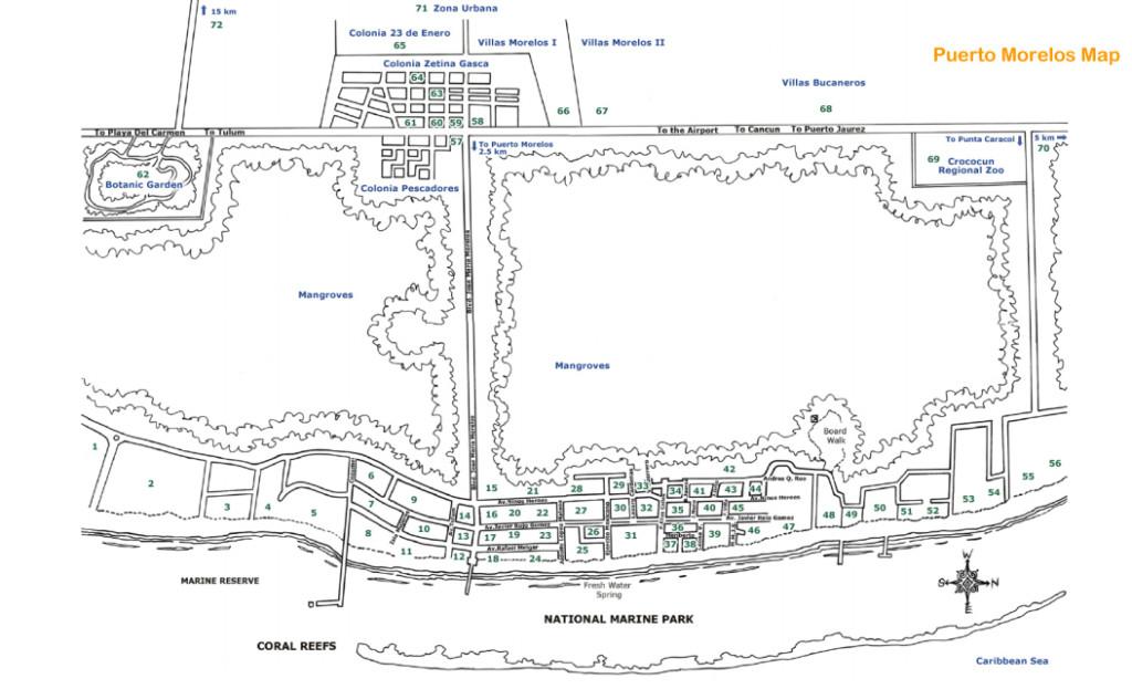 Puerto Morelos Map